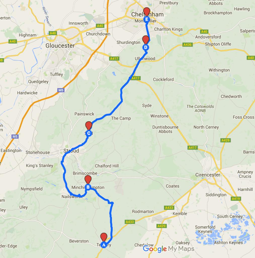 Cycling Tetbury to Cheltenhma 40km
